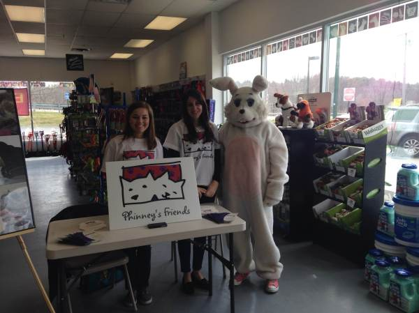 Phinney's Friends volunteers heather (left) and Christine with Easter Bunny. :-)